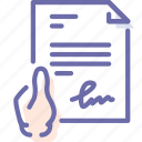document, file, hand, signature icon