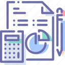analytics, calculator, document, pencil icon