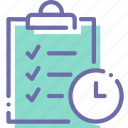 clipboard, list, schedule, time icon