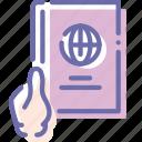 document, hand, id, passport icon