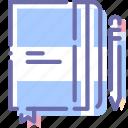 draw, moleskine, pencil, sketch icon