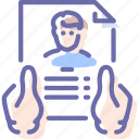 account, hands, profile, summary icon