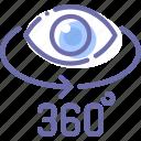 degrees, eye, panorama, photo icon