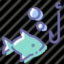 fish, fishing, hook, underwater