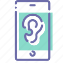 ear, microphone, mobile, spy icon