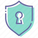 keyhole, protection, security, shield icon