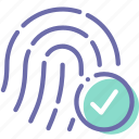 biometric, check, fingerprint, security icon