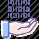share, control, data, hand icon
