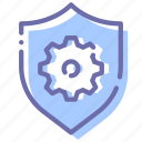gear, security, settings, shield icon