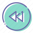 backward, circle, prev, rewind icon