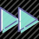 foward, next, rewind, sign icon