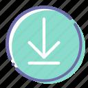 arrow, circle, download, sign icon