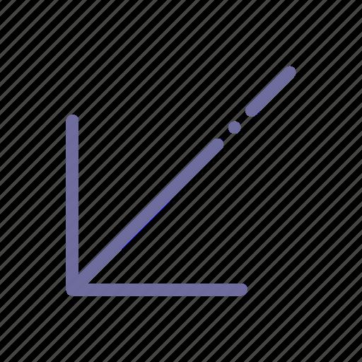 arrow, diagonal, down, left icon