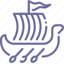 rowing, viking, shallop, ship icon