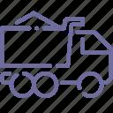 bulk, gravel, sand, truck icon