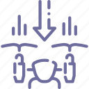 airdrone, down, drone, quadcopter icon