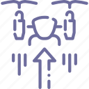 airdrone, drone, quadcopter, up icon