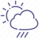 clouds, rain, rainy, sun icon