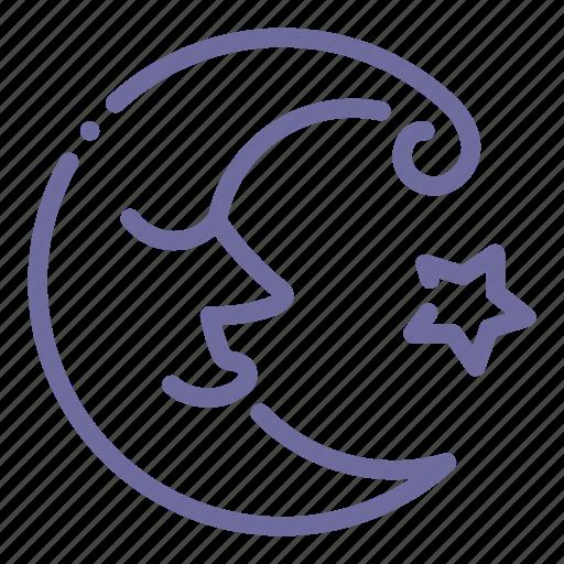 crescent, face, fairy, moon icon