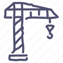 building, construction, crane, hook