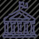 bank, flag, government, hall icon