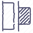 distribute, horizontal, left, objects icon