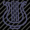 audio, instrument, lyre, music icon