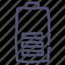 battery, electric, energy, half icon