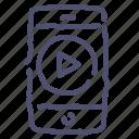 mobile, movie, phone, play, smartphone icon