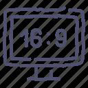 aspect, ratio, television, tv, wide icon
