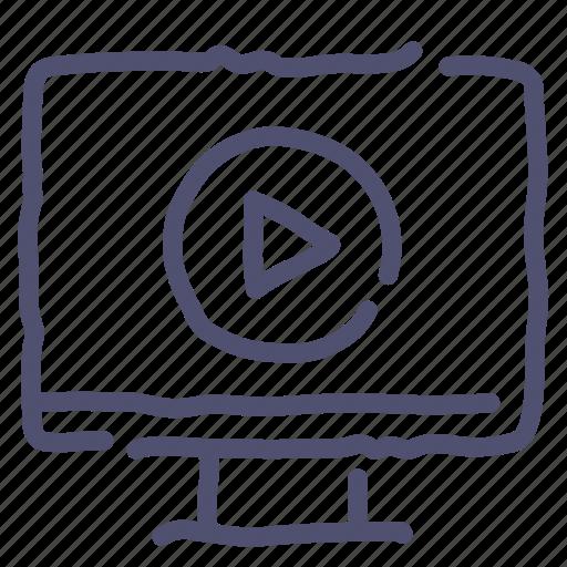 computer, desktop, play, presentation, video, watch icon