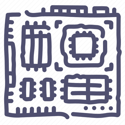 computer, hardware, microchip, motherboard, technology icon