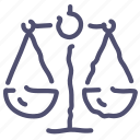 balance, compare, justice, law, scales icon