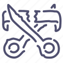 cut, open, opening, ribbon, scissors icon