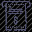 bill, invoice, money, payment, receipt icon