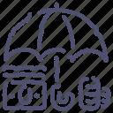 bank, deposit, finance, money, safe, umbrella icon