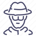 glasses, hat, spy icon