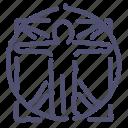 davinci, man, vitruvian icon