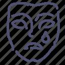 face, mask, sad icon