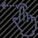 gesture, hand, left, swipe icon