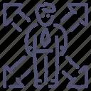 employee, growth, man, user icon
