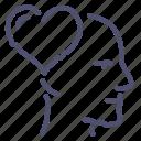 face, head, heart, love icon