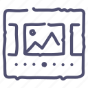 grid, images, layout, slideshow, wireframe icon