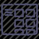 blog, grid, layout, menu, thumbnails, wireframe icon