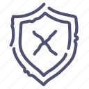 protect, shield, unprotected, warning icon