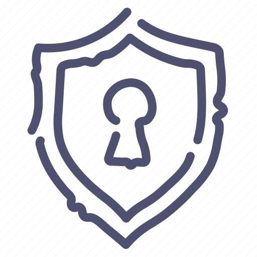 keyhole, private, security, shield icon