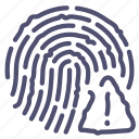 alert, finger, fingerprint, touch icon