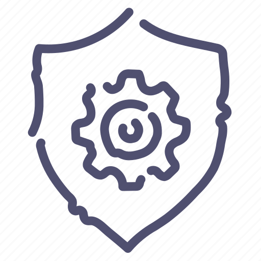 gear, options, protection, shield icon