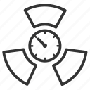radioactivity, radioactive, metric, becquerel, curie, measurement, unit icon