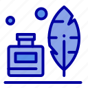 adobe, american, bottle, feather, ink icon